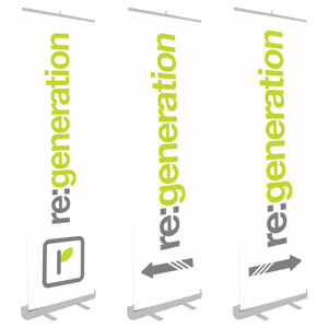 "24"" x 80"" Standard Retractable Banner Stand - These retractable banner stands are easy to set up and roll up like common window shades with the graphic protected inside a lightweight self-contained aluminum casing (brushed, anodized aluminum)."